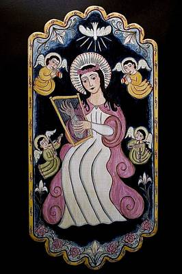 St Cecilia Painting - St. Cecilia With Harp And Angels by Ellen Chavez de Leitner