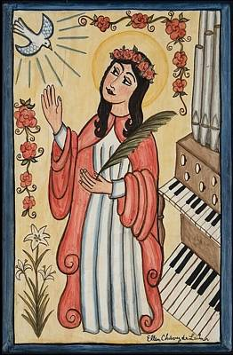 St. Cecilia With Organ And Dove Print by Ellen Chavez de Leitner
