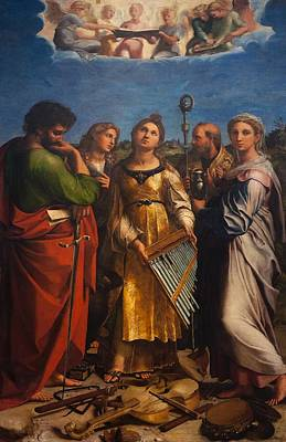 St Mary Magdalene Painting - St. Cecilia With Sts. Paul John Augustine And Mary Magdalene by Raffaello Sanzio