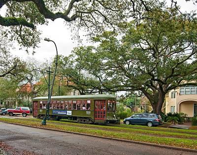 Rainy Day Photograph - St Charles Streetcar by Steve Harrington