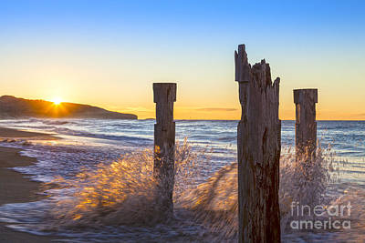 St Clair Beach Dunedin At Sunrise Print by Colin and Linda McKie