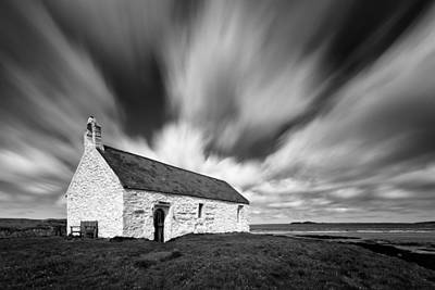 Tidal Photograph - St Cwyfan's Church by Dave Bowman