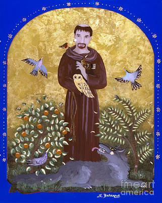 Reverse Painting - St. Francis And The Wolf by Sue Betanzos