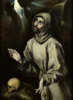 Stencil Art Painting - St Francis Of Assisi Receiving The Stigmata by Celestial Images