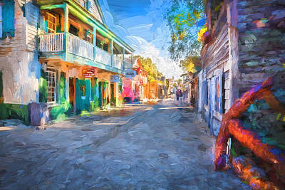 Saint George Photograph - St George Street St Augustine Florida Painted by Rich Franco