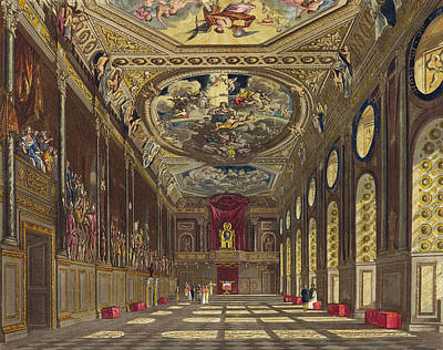 Panel Drawing - St. Georges Hall, Windsor Castle by Charles Wild
