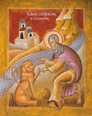 Egg Tempera Painting - St Gerasimos Of The Jordan by Julia Bridget Hayes