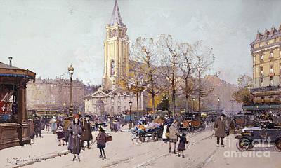 Abbey Road Painting - St. Germaine De Pres by Eugene Galien-Laloue