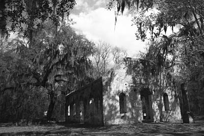 Chapel Of Ease Photograph - St Helena Chapel Of Ease Bw 2 by Steven  Taylor