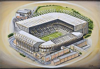 Magpies Painting - St  James Park - Newcastle United by D J Rogers