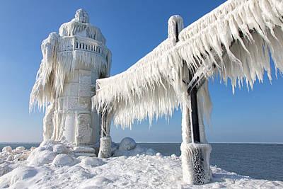 Joesph Photograph - St. Joesph Lighthouse In Winter - North Pier by Craig Sterken