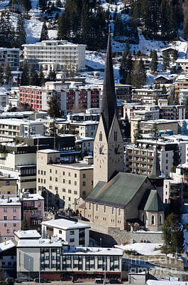 St Johann Davos Church St John Town Print by Andy Smy