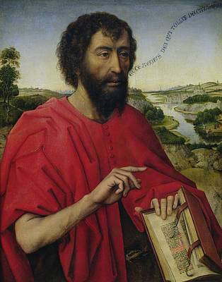 St John The Baptist, Left Hand Panel Of The Triptych Of The Braque Family Print by Rogier van der Weyden