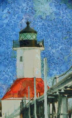 Lake Michigan Mixed Media - St. Joseph Lighthouse Lake Michigan by Dan Sproul