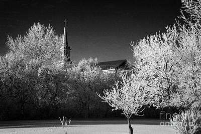 st josephs old church and rectory in Forget Saskatchewan Canada Print by Joe Fox