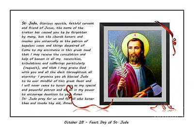 St. Jude Patron Of Hopeless Cases - Prayer - Petition Print by Barbara Griffin