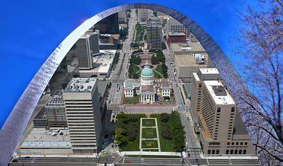 Stadium Scene Digital Art - St Louis A View From The Arch Merged Image by Thomas Woolworth