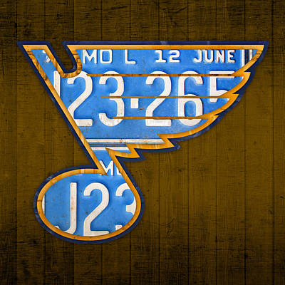 St. Louis Art Mixed Media - St Louis Blues Hockey Team Retro Logo Vintage Recycled Missouri License Plate Art by Design Turnpike