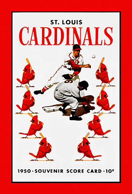 Major League Baseball Painting - St. Louis Cardinals 1950 Score Card by Big 88 Artworks