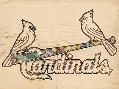 Bat Painting - St Louis Cardinals Poster Art by Florian Rodarte
