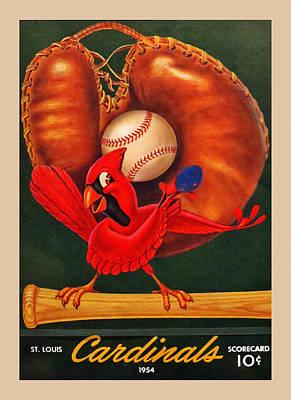 Baseball Pitchers Painting - St. Louis Cardinals Vintage 1954 Scorecard by Big 88 Artworks