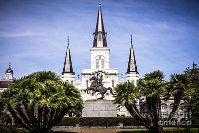 Bronze Horse Photograph - St. Louis Cathedral In New Orleans  by Paul Velgos