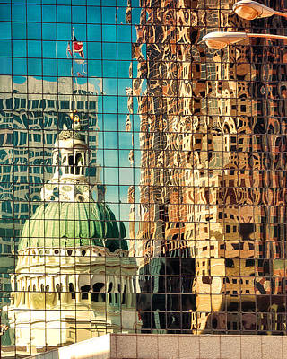Trial Photograph - St. Louis Old Courthouse Reflected by Jon Woodhams