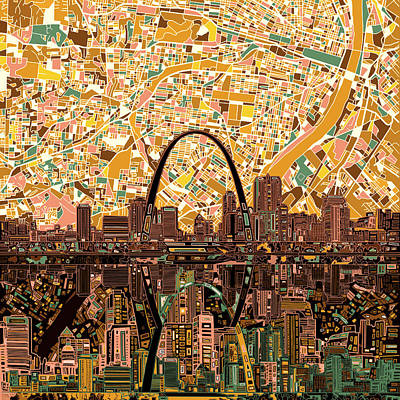 Abstract Digital Painting - St Louis Skyline Abstract 11 by Bekim Art