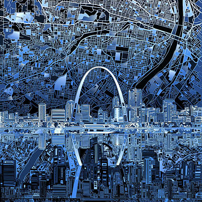 Abstract Digital Painting - St Louis Skyline Abstract 5 by Bekim Art