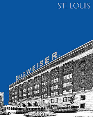Budweiser Digital Art - St Louis Skyline Budweiser Brewery - Royal Blue by DB Artist