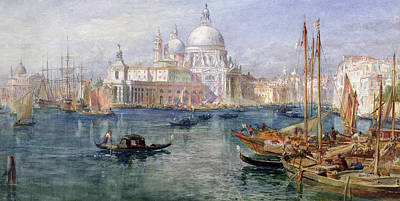 Progress Painting - St Maria Della Salute Venice by Edward Angelo Goodall