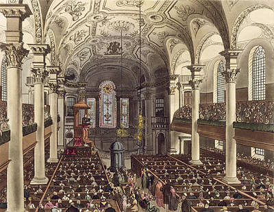 St Martins In The Fields Print by T. & Pugin, A.C. Rowlandson