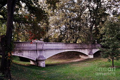 Indiana Photograph - St Mary Woods Bridge Fall Leaves by Amy Lucid