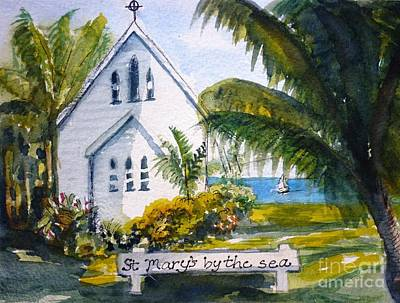 Religious Drawing - St Marys By The Sea - Original Sold by Therese Alcorn