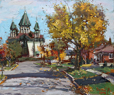 Autumn Landscape Painting - St. Marys Ukrainian Catholic Church by Ylli Haruni