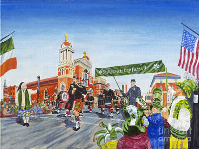 Bagpipes Painting - St. Patrick's Day Parade by Austin Burke