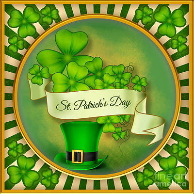Party Card Mixed Media - St. Patrick's Day by Bedros Awak
