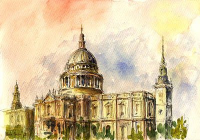 Winter Street Painting - St Paul Cathedral by Juan  Bosco
