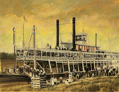 Steam Ships Painting - St. Paul Steamboat by Don  Langeneckert