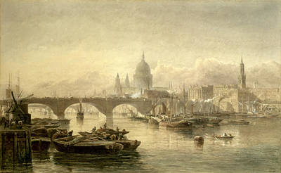 St. Pauls Cathedral And London Bridge Print by Edward Angelo Goodall
