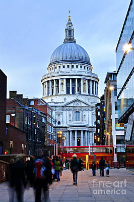 St. Paul's Cathedral At Dusk Print by Elena Elisseeva