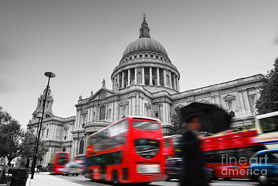 Christianity Photograph - St Pauls Cathedral In London Uk Red Buses In Motion by Michal Bednarek
