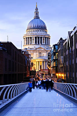 St. Paul's Cathedral London At Dusk Print by Elena Elisseeva