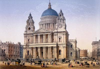 Wren Drawing - St Pauls Cathedral, Print Made By Ch by Achille-Louis Martinet