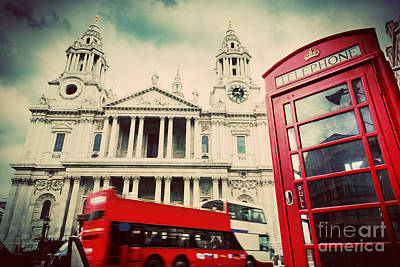 Great Photograph - St Pauls Cathedral Red Bus Telephone Booth London by Michal Bednarek