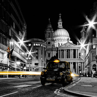 St Pauls With Black Cab Print by Ian Hufton