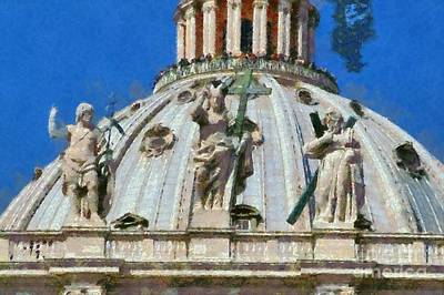 Statue Painting - St Peter Dome In Vatican by George Atsametakis