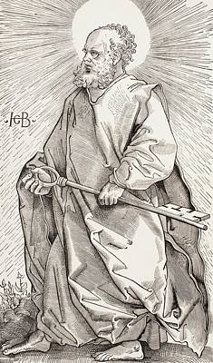 Guardian Drawing - St Peter Holding The Keys Of The Kingdom Of Heaven by French School