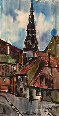 St. Peter's Church In Riga Print by Anna Lobovikov-Katz