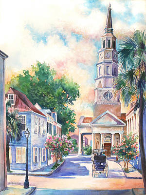 Palmettos Painting - St. Philips Episcopal Church by Alice Grimsley